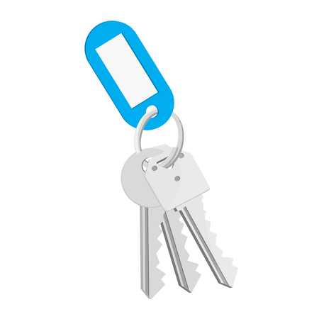 Raster illustration blank blue tag and keys. Bunch of keys with keychain isolated on white background Stock Photo