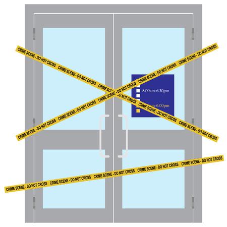 Raster illustration yellow police crime scene danger tape. Do not cross. Police tape across closed  shop door Stock Photo