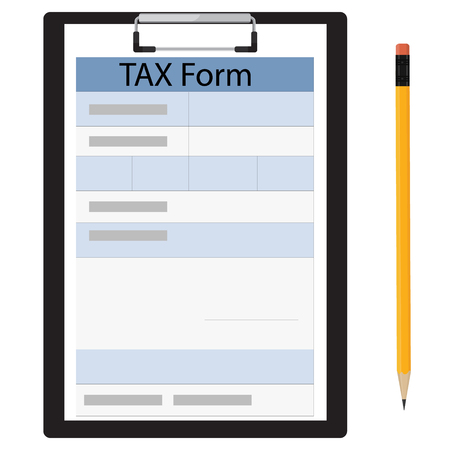 note paper: Raster illustration black clipboard with income tax form and black pencil. Federal income tax form. Tax return