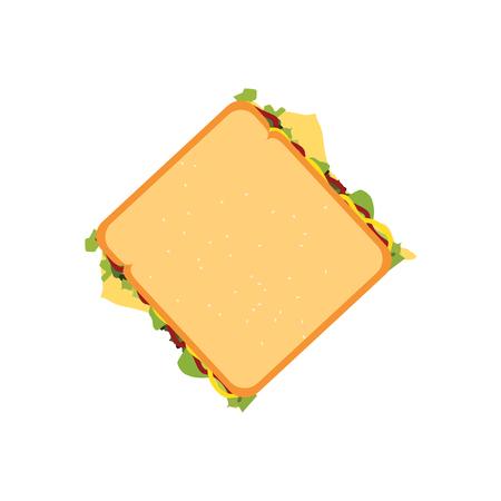 raster illustration fast food sandwich top view. Sandwich icon. Stock Photo