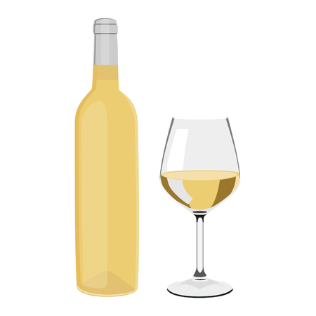 raster illustration white wine bottle and wine glass with wine isolated on white background. Wineglass
