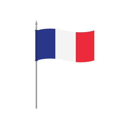 european culture: France raster table flag template. Waving French flag on a metallic pole, isolated on a white background. Flag stand, flagstaff Stock Photo