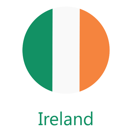 tricolors: Round ireland flag raster icon isolated, ireland flag button