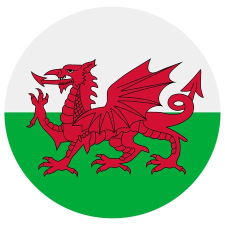 ウェールズ アイコンのラスター図旗。ウェールズの国旗をラウンド。ウェールズ フラグ] ボタン