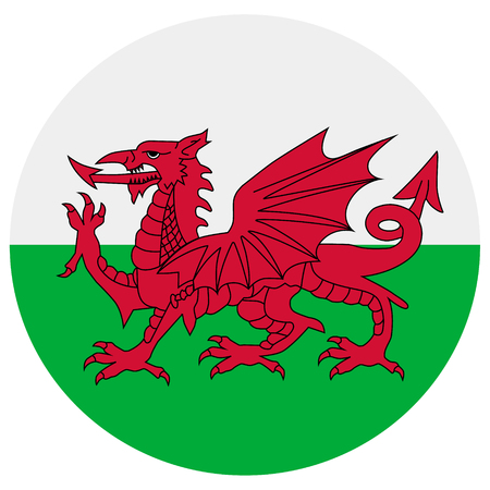 Raster illustration flag of Wales icon. Round national flag of Wales. Wales flag button