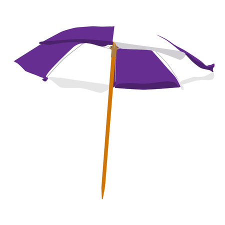 raster illustration purple and white summer beach umbrella isolated on white background. Colorful beach umbrella