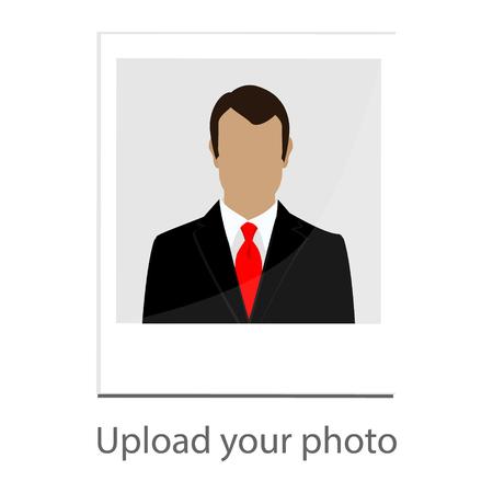 Raster illustration upload your photo icon with man image