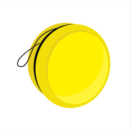 play yoyo: Raster illustration yellow yoyo toy with smile. Yo yo symbol, icon flat