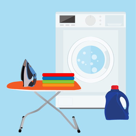 Flat design raster illustration of modern washing machine with pile of clothes and laundry bottle. Clothes stack. Washing clothes. Ironing board and iron Stock Photo