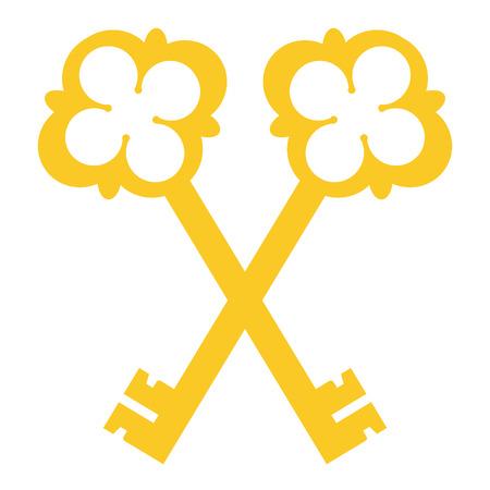 Vector illustration golden, vintage crossed keys silhouettes isolated on white background