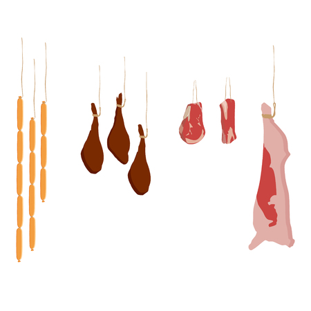 Vector illustration set of food: meat cuts assortment - beef, pork, steak, whole leg, and more.