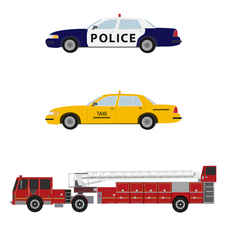 Vector illustration set, collection of emergency cars. Police, firetruck and taxi. Illustration
