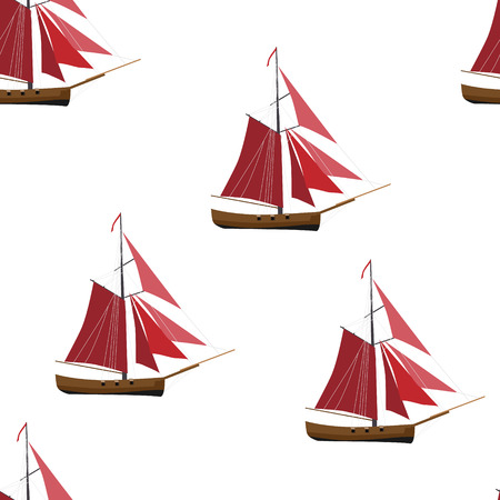 Vector illustration nautical seamless pattern, background with sloop ship with red sail. Illustration