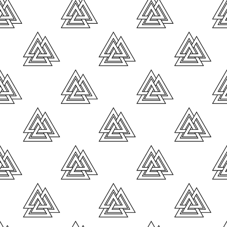 germanic people: Vector illustration seamless pattern, background with viking symbols valknut. Illustration
