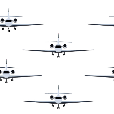 Vector illustration transport seamless pattern, background with   private business jet flying in the sky. Illusztráció