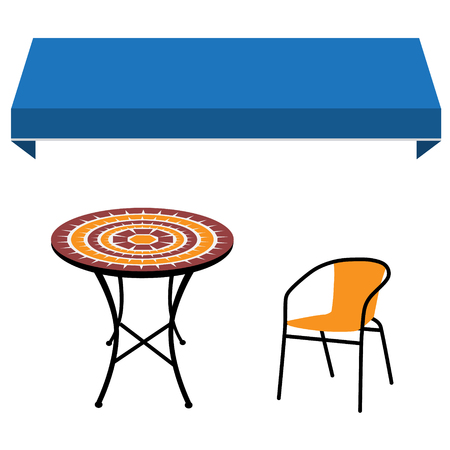 Blue shop window awning vintage outdoor table and chair. Round table and chair raster icon. Restaurant furniture