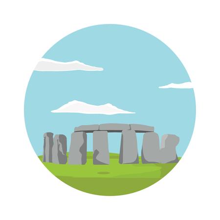 Raster illustration Stonehenge ancient rock, monument. Stonehenge heritage tourism, prehistoric religious landmark architecture. England UK historical monument .