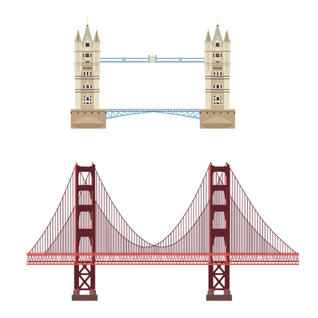 london tower bridge: Raster illustration London tower bridge icon. United Kingdom landmark. San Francisco Golden Gate bridge. United State of America landmark