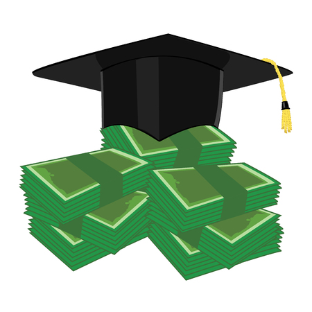 scholarship: Raster illustration investment in education concept. Graduation cap, hat and money