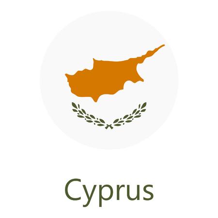 Raster illustration flag of Cyprus icon. Round national flag of Cyprus. Cyprus flag button