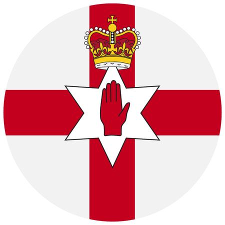 unofficial: Raster illustration flag of Northern Ireland icon. Round national flag of Northern Ireland. Northern Ireland flag button