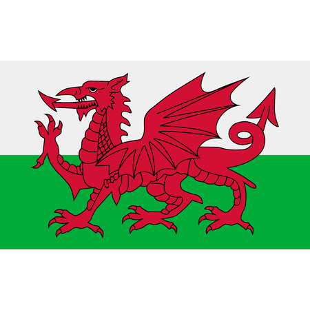 Raster illustration flag of Wales icon. Rectangle national flag of Wales. Wales flag button Stock Photo