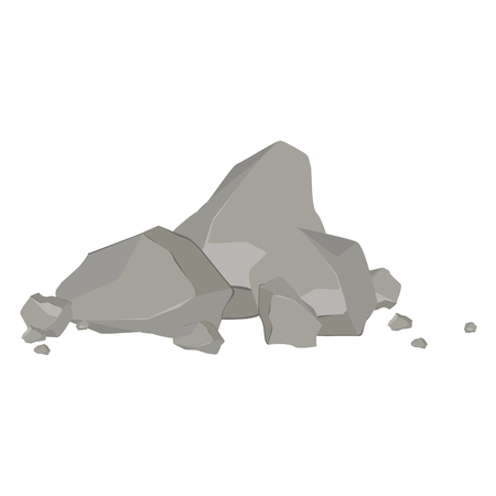 cobble: Rocks and stones single or piled for damage and rubble for game art architecture design. Rock stone cartoon icon