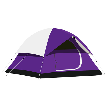Purple camping tent raster illustration. Camping equipment, camping gear, camping icon