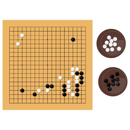 Raster illustration traditional chinese, japanese strategy board game. Go game, igo, go board and bowl, yundzi. Stock Photo
