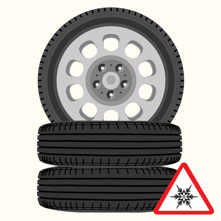 winter tires: Raster illustration new, shiny winter car wheels and triangle road sign with snowflake. Stack of realistic car wheels. Cold warning Stock Photo