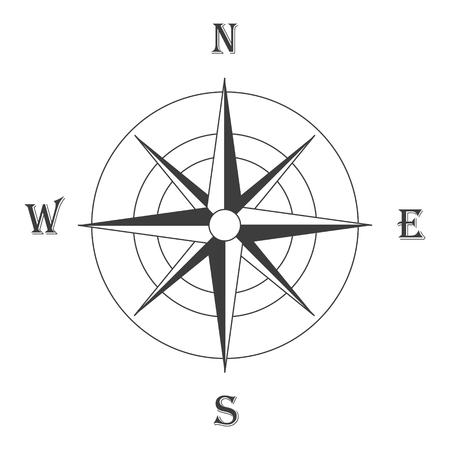Raster illustration black wind rose isolated on white. Compass rose icon