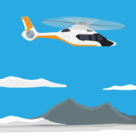 Raster illustration white, luxury, realistic helicopter flying in the blue sky with mountain landscape Stock Photo