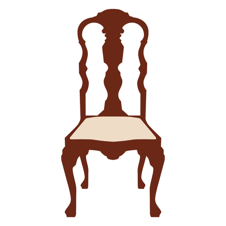 Vector illustration vintage wooden white chair. Elegant realistic chair