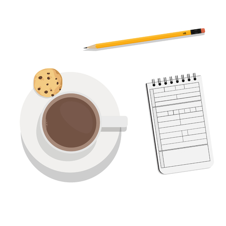Vector illustration chocolate chip cookies on the plate and cup of coffee. Top view. Flat style. Illustration