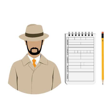 Vector illustration detective interrogation concept notepad with pencil. Detective equipment Illustration