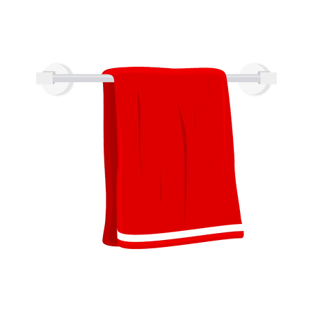 Vector illustration red hand holder towel clean bath hygiene cotton textile. CBathroom dry towel.
