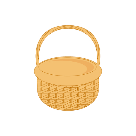 Vector illustration empty wicker basket icon, symbol isolated on white background.