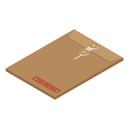 3s isometric perspective brown long postal envelope template with red rubber stamp top secret vector illustration. Envelope sealed with string. Banco de Imagens - 80328780