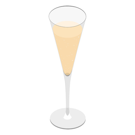 Vector illustration 3d isometric perspective glass of champagne isolated on a white background. Illustration