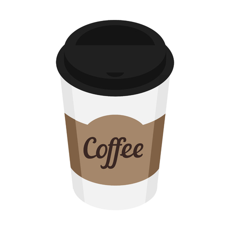 Vector illustration 3d isometric perspective disposable coffee cup isolated on white background. Coffee cup logo