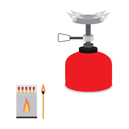 survive: Vector illustration camping stove flat icon. Portable gas burner. Hiking, camping equipment. Vector illustration burning match stick. Burn match icon. Opened matchbox Illustration