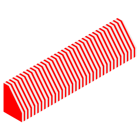 Vector illustration 3d isometric perspective striped awning for shop. Red and white awning . Illustration