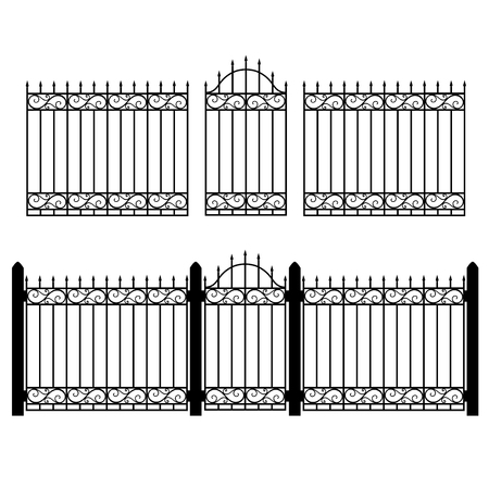 Vector illustration wrought iron modular railing and fence. Vintage gate with swirls. Black forged lattice fence Иллюстрация