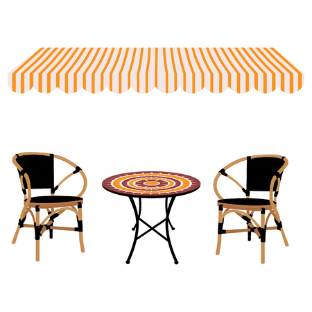 Vector illustration striped shop window awning round table and bamboo chairs icon.  Restaurant furniture