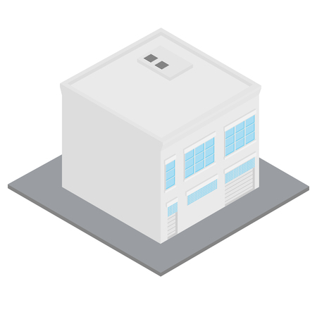 garage on house: Vector illustration modern 3d isometric perspective building icon. Workshop city element Illustration