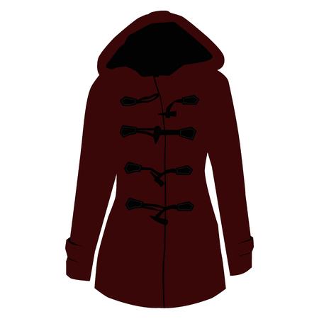 bordo: Vector illustration red bordo pea, trench coat design.
