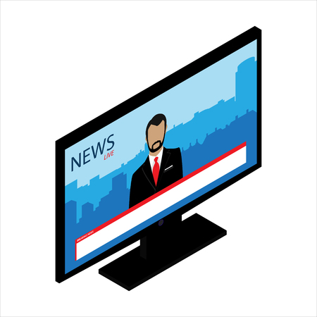 lcd tv: Vector illustration 3d isometric perspective new modern black monitor isolated on white background. lcd tv monitor with financial, daily, world news