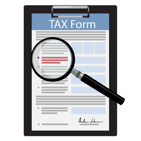 calculate: Vector illustration black clipboard with tax form and magnifying glass icon isolated on white background. Federal income tax form. Tax return