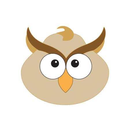 Raster illustration cute baby owl character face icon. Cartoon animal head