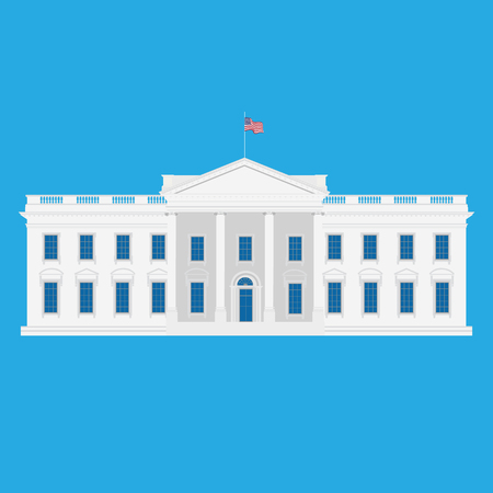 Raster illustration white house building in Washington. USA. United States of America.
